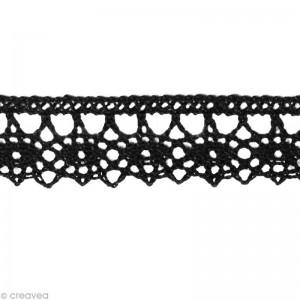 Dentelle coton fantaisie 1,3 cm - Noir au mètre