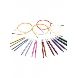 Kit 8 paires d'aiguilles métal circulaires interchangeables Knit Pro