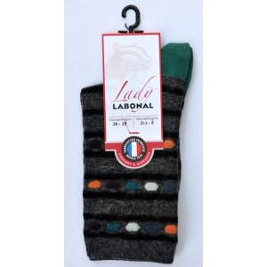 Mi chaussettes viscose-angora fond jean talon vert Sans couture