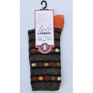 Mi chaussettes viscose-angora fond brun talon orange Sans couture