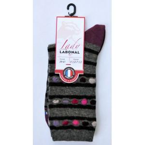 Mi chaussettes viscose-angora fond gris clair  talon prune foncé Sans couture