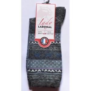 Mi chaussettes Viscose/Angora jacquard fond jean sans couture