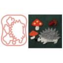 Moule pour faire des appliqués motif hérisson et champignons
