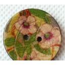 Bouton Fleur rose en coco 25 mm
