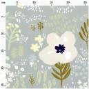 TISSUS COTON Bleu Fleurs Sauvages
