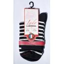 Mini chaussettes rayéées fond marine rayures blqnches  Sans couture
